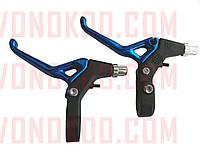 Ручки руля велосипедные (тормозные) (пара, алюминий) (синие) (BL-214) KL
