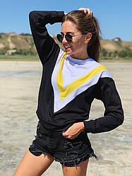 Молодежная женская трикотажная кофта свитшот с цветными вставками