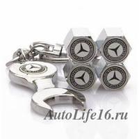 Колпачки на ниппель с логотипом Merсedes-Benz+ключ-брелок