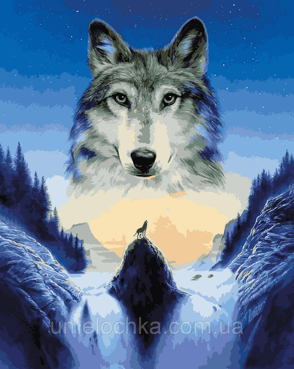 Картина по номерам Лунный волк (VP929) 40 х 50 см DIY Babylon