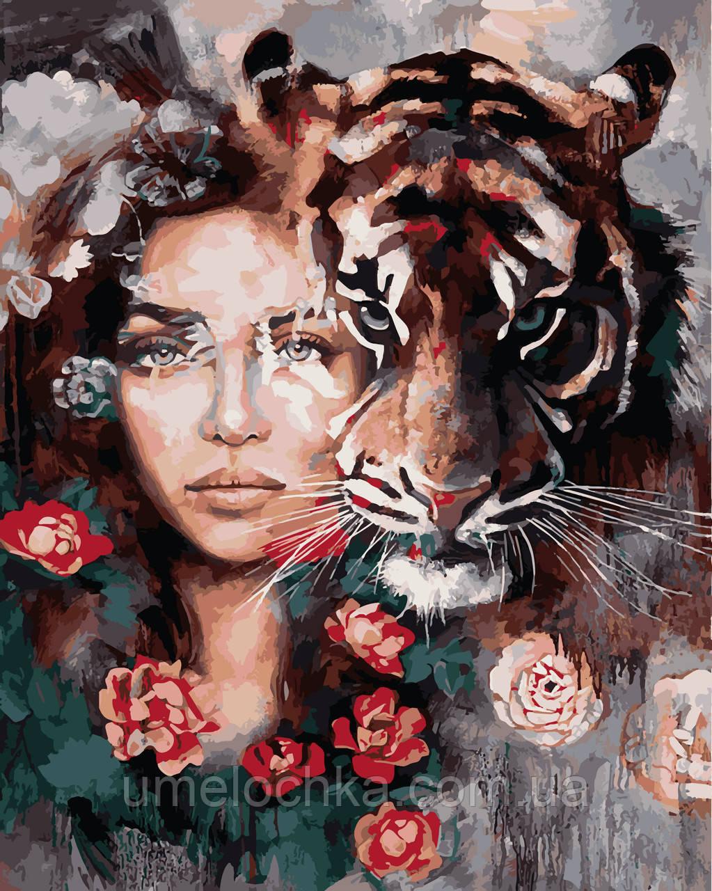 Розмальовка для дорослих Очі тигра (VP966) 40 х 50 см DIY Babylon