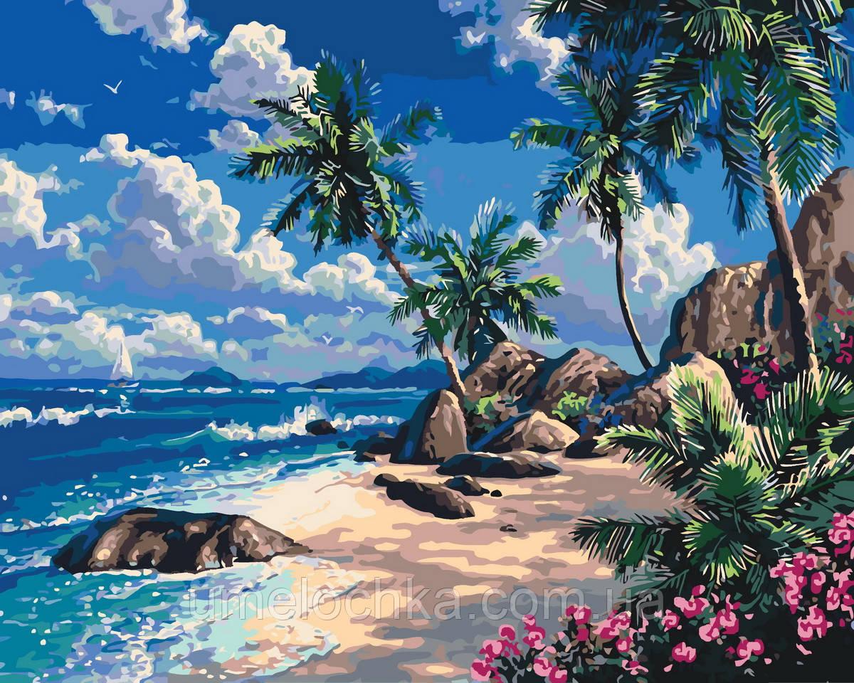 Раскраска для взрослых Дальний пляж (KH2234) 40 х 50 см Идейка