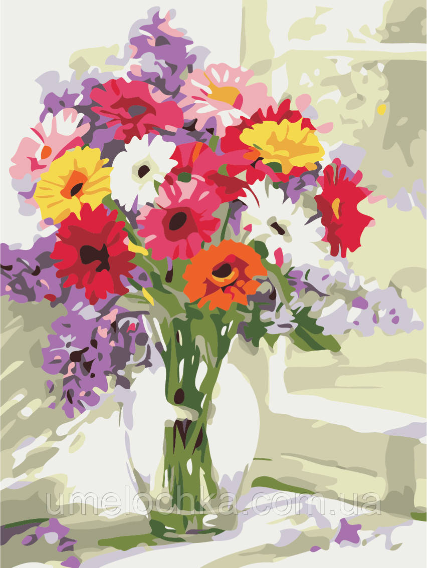 Картина по номерам Разноцветные герберы (AS0483) 30 х 40 см ArtStory (Без коробки)