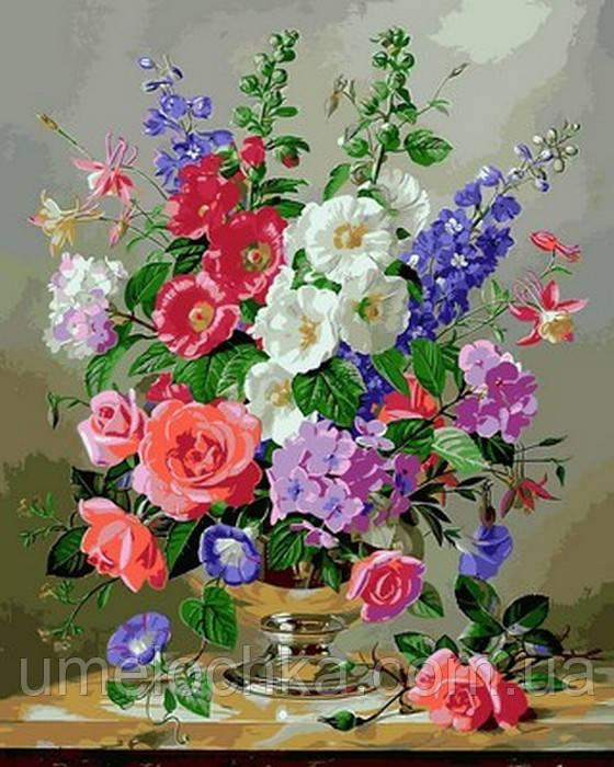 Картина за номерами Дельфініум і коралові троянди (VP1053) 40 х 50 см DIY Babylon