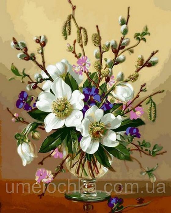 Картина по номерам Белоснежные цветы (VP1059) 40 х 50 см DIY Babylon