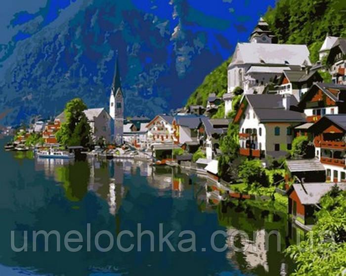 Розмальовка для дорослих Альпійське містечко (VP1063) 40 х 50 см DIY Babylon