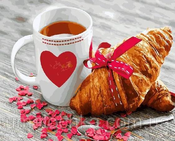Картина по номерам Чай с круассаном (BK-GX21709) 40 х 50 см (Без коробки)