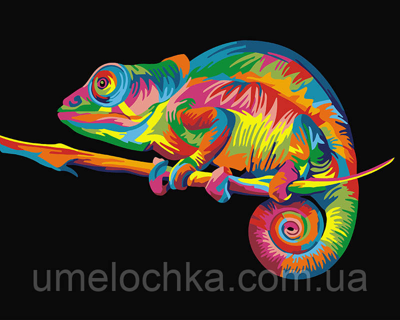 Картина по номерам Радужный хамелеон (BK-GX26199) 40 х 50 см (Без коробки)
