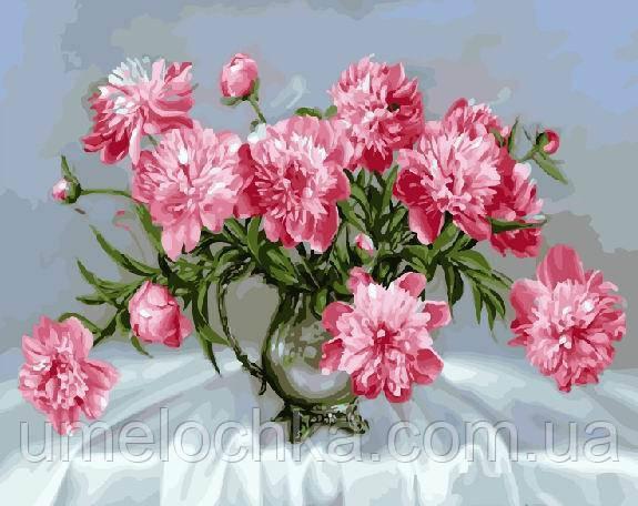 Картина по номерам Розовые пионы в стеклянной вазе (BK-GX8881) 40 х 50 см (Без коробки)
