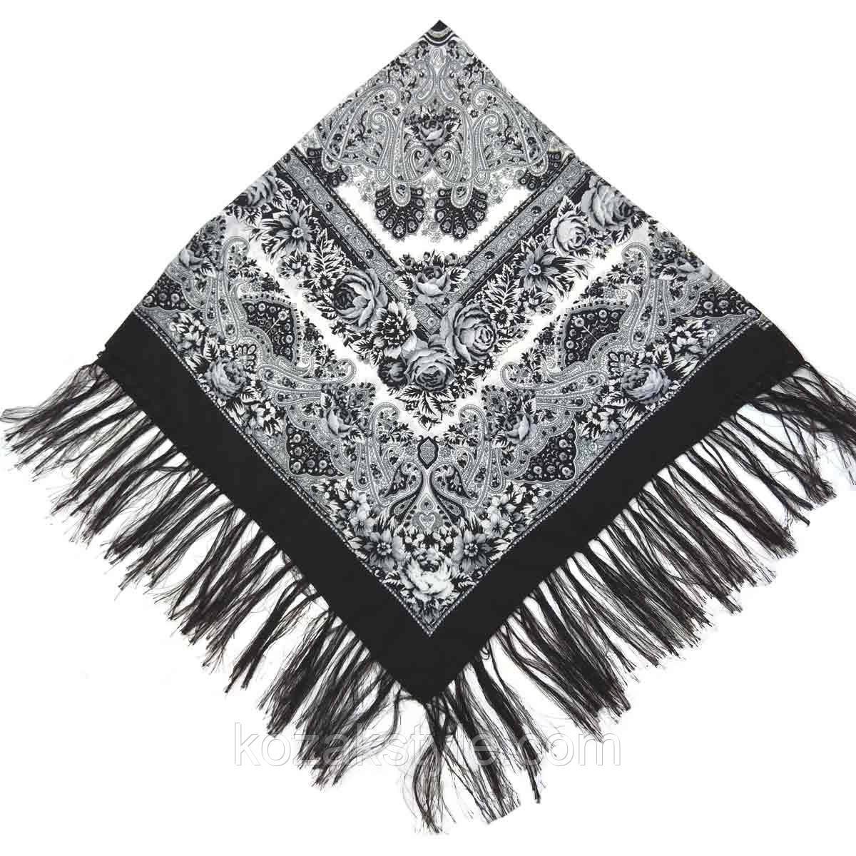 Хустка народна 120х120 чорно-сіра