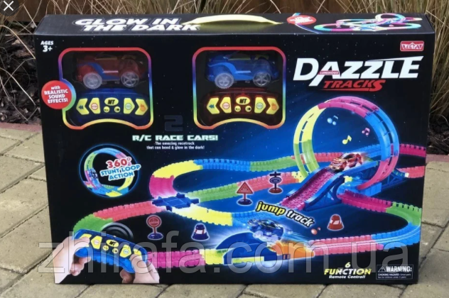 Светящийся трек, трасса 2 машинки на пульте управления Dazzle Tracks, 326 деталей