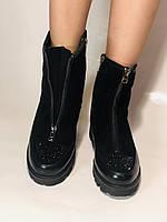 Натуральне хутро. Люкс якість. Жіночі зимові черевики. На низькій підошві. Натуральна замша. Polann Р. 36-40., фото 8