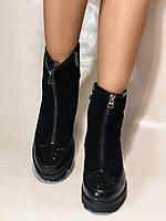 Натуральне хутро. Люкс якість. Жіночі зимові черевики. На низькій підошві. Натуральна замша. Polann Р. 36-40., фото 5