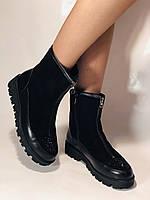Натуральне хутро. Люкс якість. Жіночі зимові черевики. На низькій підошві. Натуральна замша. Polann Р. 36-40., фото 3