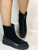 Натуральне хутро. Люкс якість. Жіночі зимові черевики. На низькій підошві. Натуральна замша. Polann Р. 36-40., фото 2