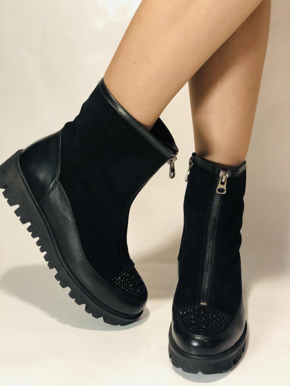 Натуральне хутро. Люкс якість. Жіночі зимові черевики. На низькій підошві. Натуральна замша. Polann Р. 36-40.
