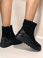 Натуральне хутро. Люкс якість. Жіночі зимові черевики. На низькій підошві. Натуральна замша. Polann Р. 36-40., фото 6