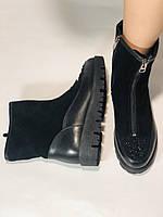Натуральне хутро. Люкс якість. Жіночі зимові черевики. На низькій підошві. Натуральна замша. Polann Р. 36-40., фото 10