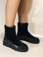 Натуральне хутро. Люкс якість. Жіночі зимові черевики. На низькій підошві. Натуральна замша. Polann Р. 36-40., фото 7
