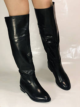 Натуральный мех. Зимние сапоги-ботфорты на низком каблуке. Натуральная кожа. Люкс.  Размер  37,39