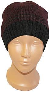 Осенняя / зимняя шапка для мужчин и подростков Полоска, бордовая