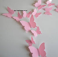 "Бабочки ""Кульбабка""  3D бабочки, на стену или на холодильник 12 шт/наборе. 12, глянцевая, Нет, Китай, День святого Валентина, свадьба, романтика, розовый"