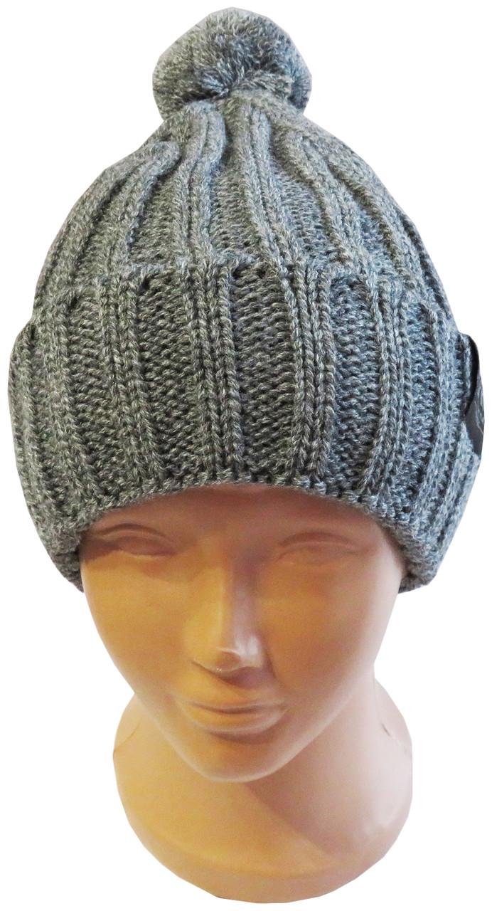 Модна молодіжна вязана шапка з бомбоном, сіра