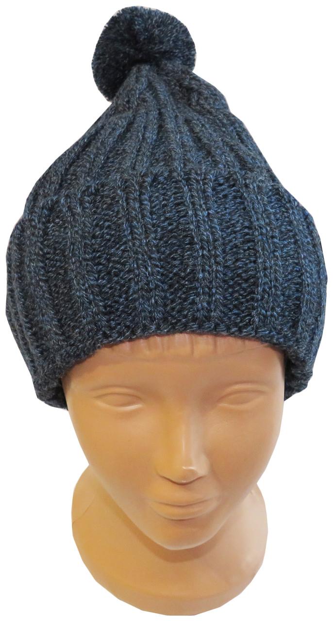 Модная молодежная вязаная шапка с помпоном, синяя