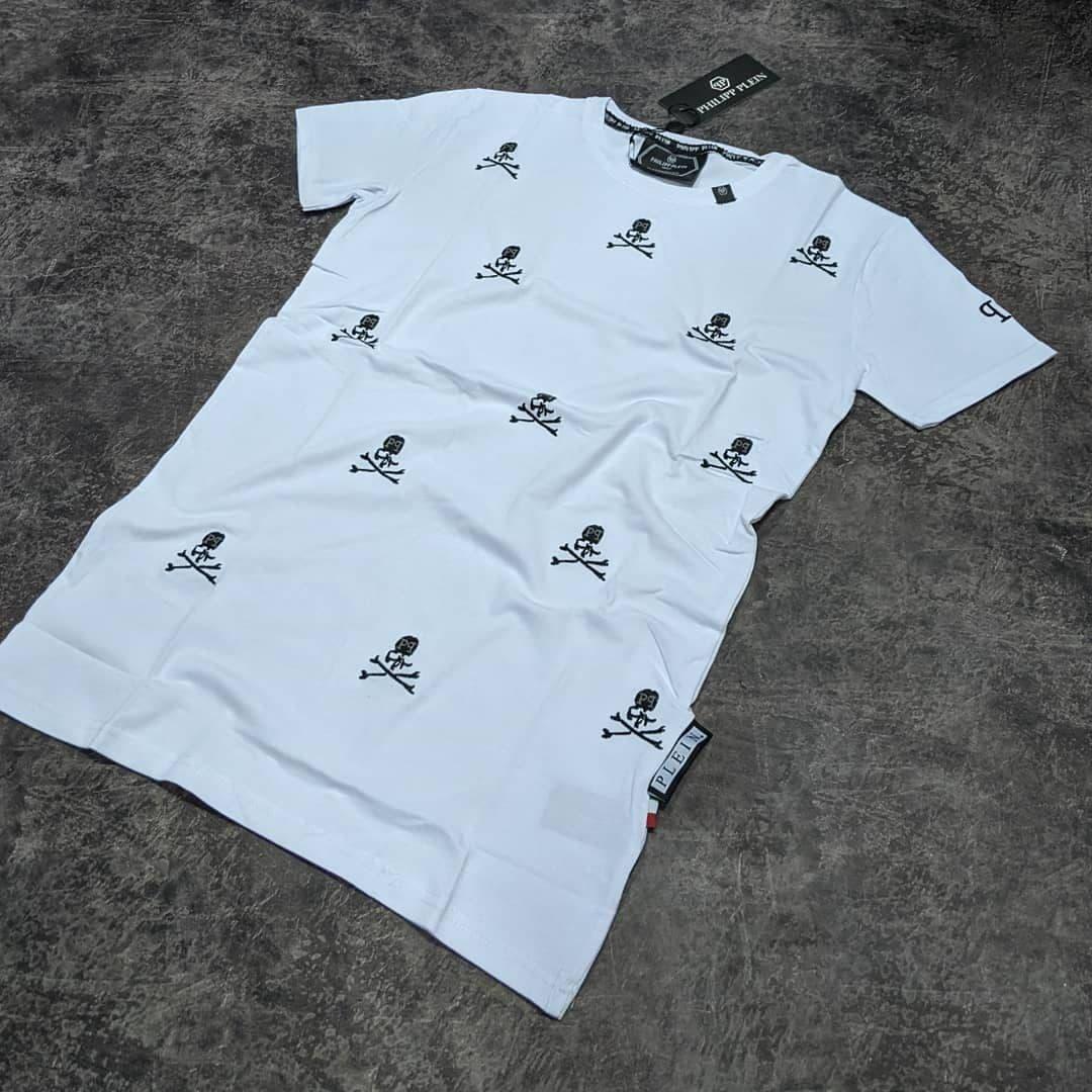 Мужская футболка Philipp Plein CK1613 белая