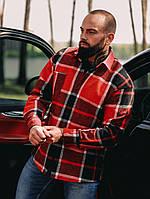 Тёплая Рубашка Оверсайз красная
