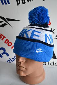 Шапка Nike синего цвета с балабоном