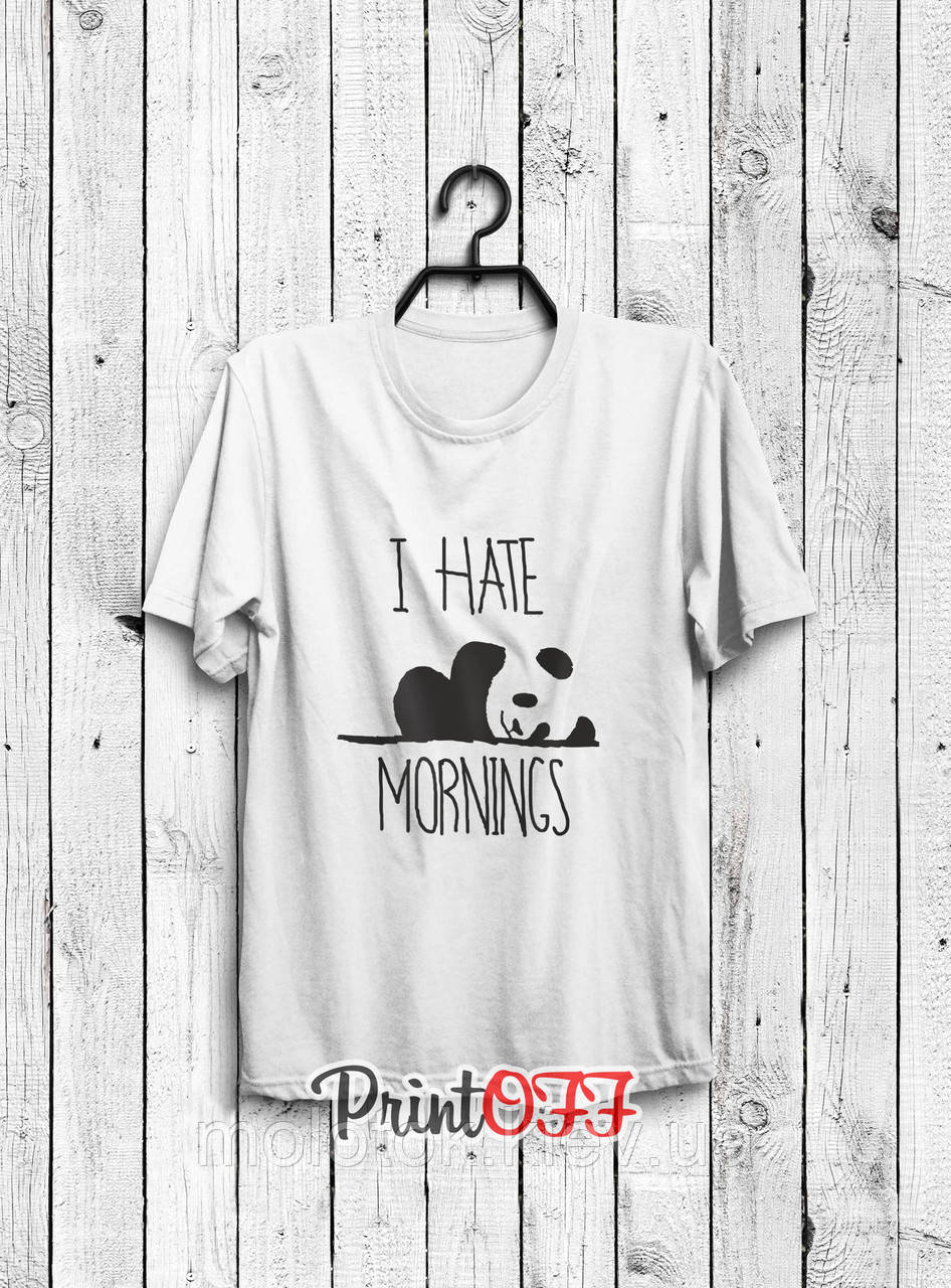 Футболка printOFF I hate mornings белая S 001891