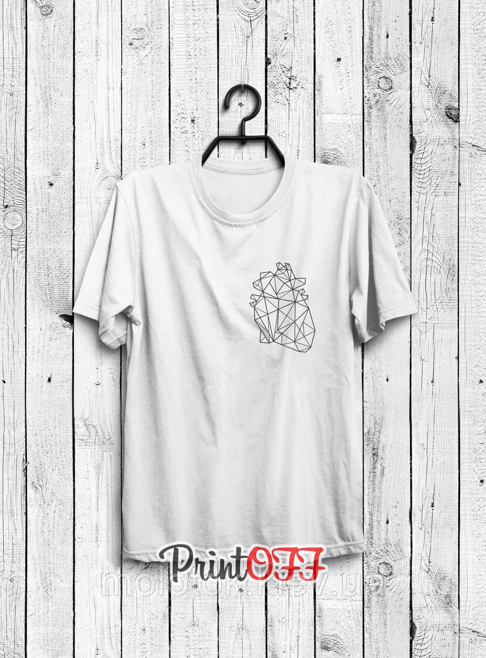 Футболка printOFF Сердце белая S 001906