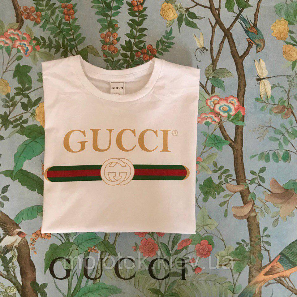 Футболка Gucci, напис золото