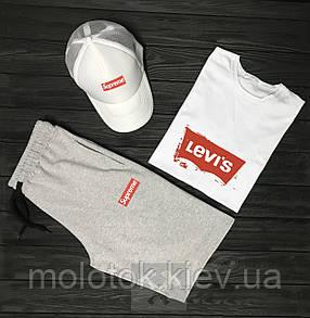 Комплект levi's+Supreme (шорти+футболка+кепка)