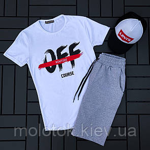 Комплект OFF+levi's (шорти+футболка+кепка)