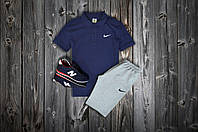 Комплект Поло + шорты Nike, темносиний - серый