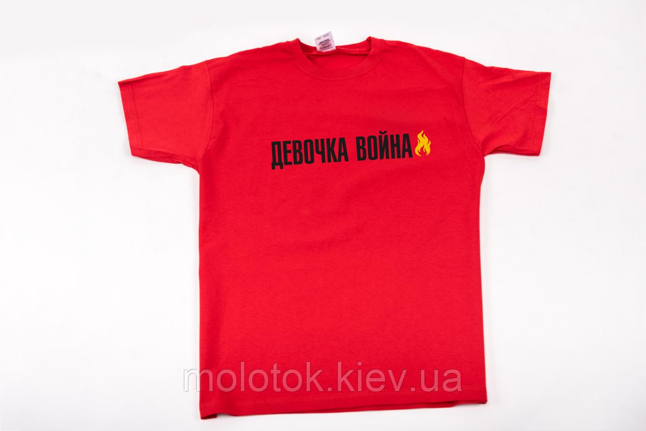 Футболка printOFF Девочка война Красная   S 001741