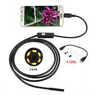 Эндоскоп водонепроницаемый USB камера 2м 5,5мм для Android OTG PC ЮСБ бороскоп видео