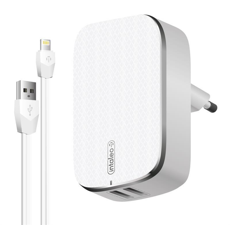 Сетевое зарядное устройство Intaleo TCA242 (2USB, 2.4A) White (1283126477454) + кабель Lightning