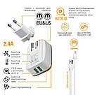Сетевое зарядное устройство Intaleo TCA242 (2USB, 2.4A) White (1283126477454) + кабель Lightning, фото 2