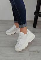 Білі жіночі кросівки на високій платформі, фото 1