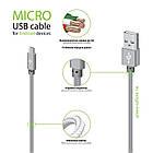 Кабель Intaleo CBGNYL1 USB-microUSB 1м Grey (1283126477676), фото 2
