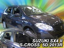 Дефлекторы окон (ветровики) Suzuki SX4 ІІ S-Cross 2013 -> 5D (вставные, кт - 4 шт)