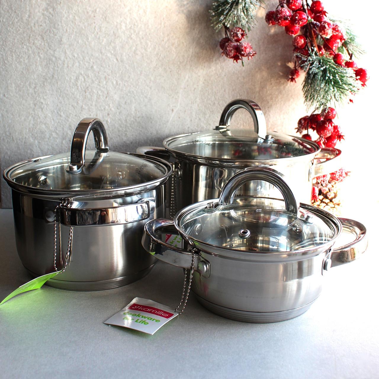 Набір каструль Kamille посуд з нержавіючої сталі 3 каструлі для приготування їжі для індукції