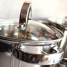 Набір каструль Kamille посуд з нержавіючої сталі 3 каструлі для приготування їжі для індукції, фото 2