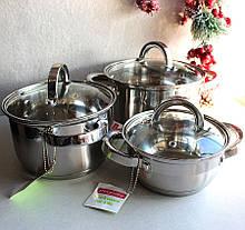 Набір каструль Kamille посуд з нержавіючої сталі 3 каструлі для приготування їжі для індукції, фото 3