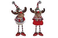 Мягкая новогодняя игрушка сидячие Олени, 56см, 2 вида, цвет - красный с серым (746996)