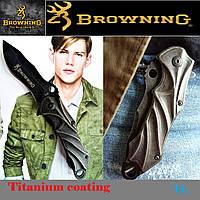 Нож титановый Browning с клипсой. Тактический, раскладной полуавтоматический. Ножи для охоты и туризма., фото 1