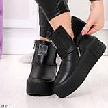 Ультра модные черные женские ботинки угги на молнии натуральная кожа 37-24 39-25см, фото 2